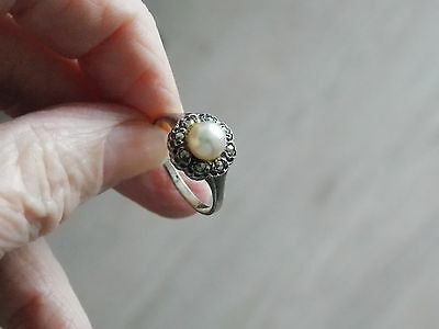 1940S Vintage Stamped Silver Pearl And Marcasite Set Ring Size M