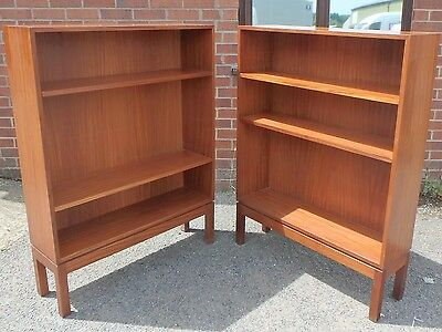 Pair 2 1970s vintage military teak adjustable shelf open library bookcases