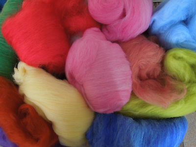 Assorted Dyed & Carded Fibre. 550g.  Felting, Spinning, Carding