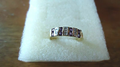 9ct gold amethyst and diamond ring, pre worn, size O