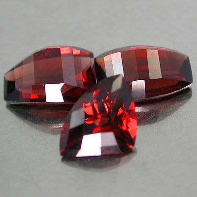 3Pcs/7.68Cts.Fabulous 100%Natural Unheated Top Full Red Mozambique Garnet Fancy