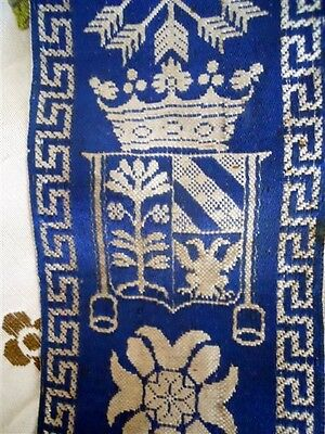 Antique French  Trim Silk  Jacquard Embroidery Coat Arm Crown Arrow 18Th-Cent