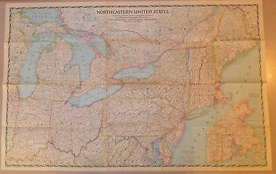 """1945 National Geographic Map NORTHEASTERN United States, 41"""" X 26-1/4"""""""