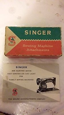 1960's Singer Sewing Machine Attachments Box & Handbook Singer Electric Motor
