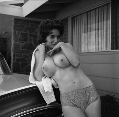 Sabine Demois 1960  Very Large breasts against 59 chevy 8 x8  Photograph