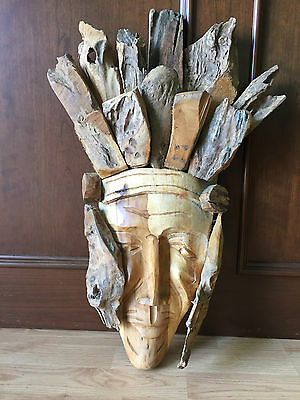 Vintage Hand Made Teak Face Mask Wood Carving Wall Hanging Decor
