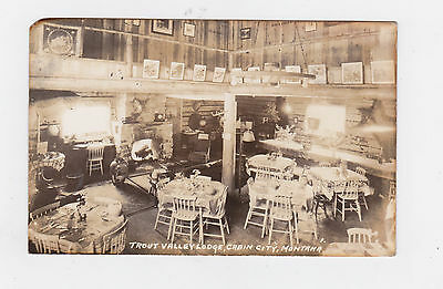 1930s  PICTURE POST CARD TROUT VALLEY LODGE CABIN CITY, MONTANA