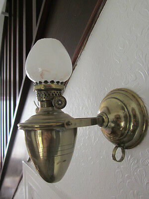 BRASS GIMBAL WALL OIL LAMP with white milk glass shade ~ needs a clean ~  ~ NO.2