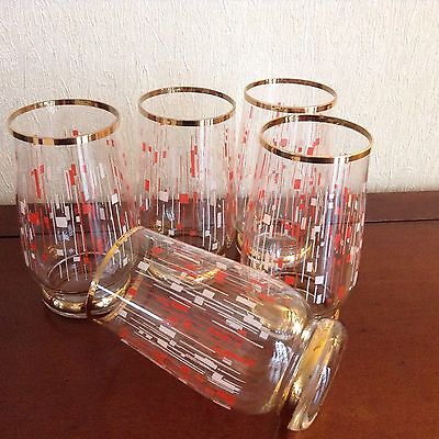 5 Vintage Retro 1950s Gold And Red Clear Tumblers Glasses