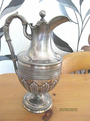ANTIQUE FRENCH SILVER PLATE CLARET JUG c1850