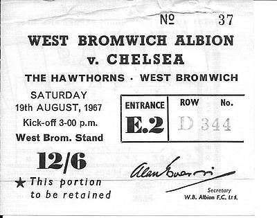 Ticket West Bromwich Albion v Chelsea 1967/68