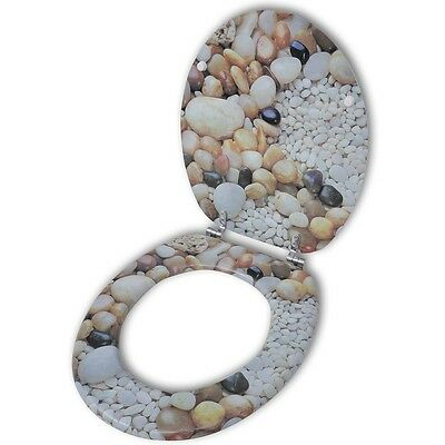 New Toilet Seat WC with Wooden MDF Wood Lid Chrome Hinges Pebbles Design