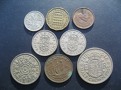 Elizabeth II Year Set 1956 inc the rare 1956 Farthing.
