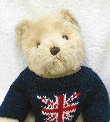 "16"" Vintage Harrods Bear in Knit blue British flag sweater"