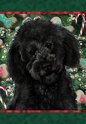 Large Indoor/Outdoor Holiday Flag - Black Labradoodle 14095