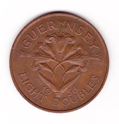 Great Britain Guernsey Eight Doubles Old Bronze Coin 1956