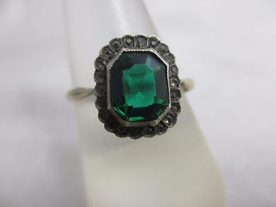 antique edwardian c1910 j6470 9ct yellow gold emerald and diamond paste ring