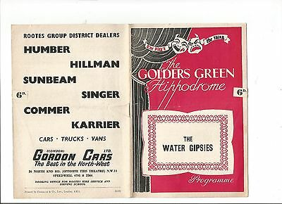 The Golders Green Hippodrome Programme 'The Water Gipsies'