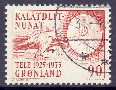 GREENLAND 1975 stamp Telecommunications fine used (CTO) Birds