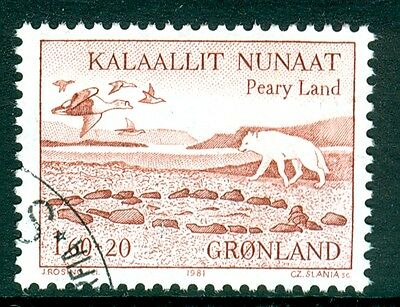 GREENLAND 1981 stamp Peary Land fine used (CTO) Flying Geese Birds Arctic Fox
