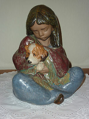 "Lladro - Very Large and Stunning Gres Figurine ""Faithful Companions"" #2391"