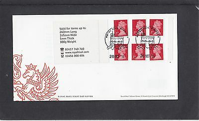 GB 2016  Machin Definitive 6x1st stamp M16LMSIL booklet shade change FDC Windsor