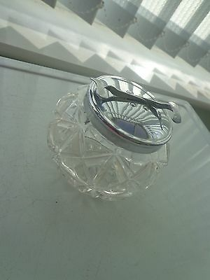 Vintage Glass Sugar Bowl With Integrated Spring Loaded Tongs Metal Lid