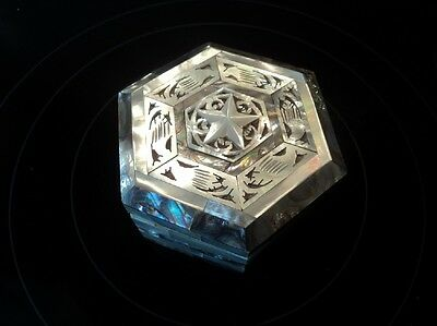 Mother of pearl and abalone trinket box with star design - stunning