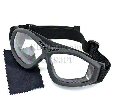 Military Polycarbonate Protection Clear Glasses Goggles / Black (KHM Airsoft)