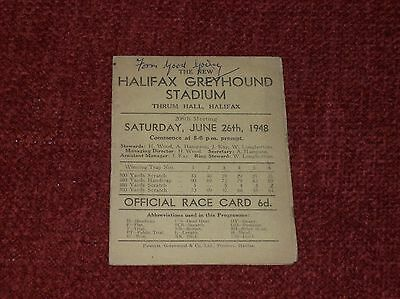 1948 Halifax Greyhound Stadium race card Dog Racing programme Flapping track 6d