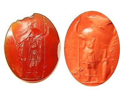 Excavated Ancient Roman Carnelian Intaglio of Virtus - Courage c. 2nd century AD