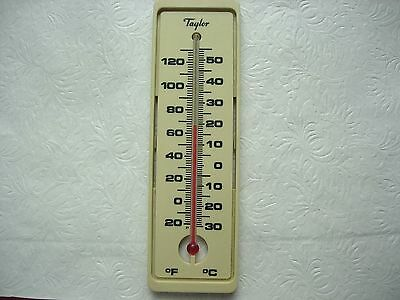 "TAYLOR Plastic Advertising Wall Thermometer 7.75"" Works great Vintage"