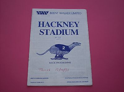13 October 1988 Hackney greyhound racing stadium programme track race card dogs