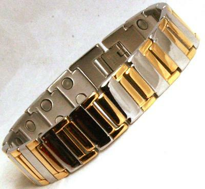 Mens Double Row Bio Magnetic Bracelet With Stunning Gold Finish (SB32)