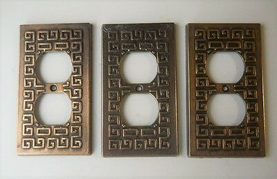 VINTAGE GREEK KEY DESIGN METAL OUTLET PLATE COVERS. Lot of (3)