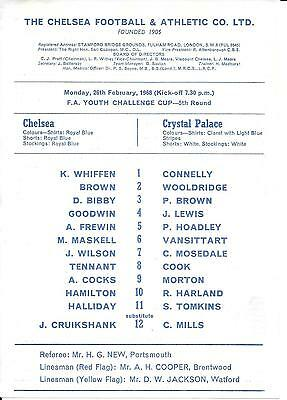 Chelsea v Crystal Palace FA Youth Cup 5th Round 1967/68 - Single card