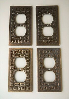 VINTAGE GREEK KEY DESIGN METAL OUTLET PLATE COVERS. Lot of (4)