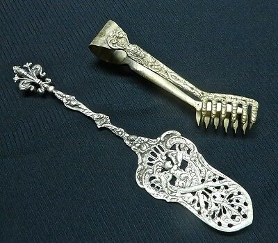 Heavy Ornate Antique Italian Angelic Cherubs Server and Demonic Clawed Tongs