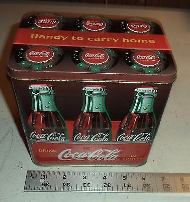 COCA COLA TIN BOX  Handle Handy to Carry Home
