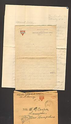1918 World War I WWI Letter with Envelope Soldier wrting home YMCA US Army Post