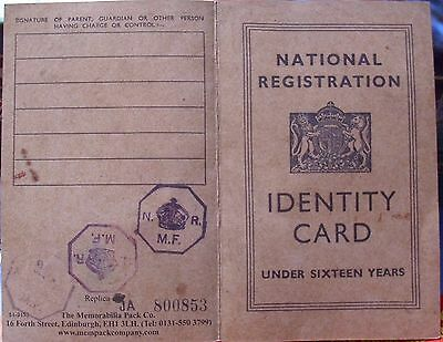 National Registration Identity Card 1945  - no name but some stamps