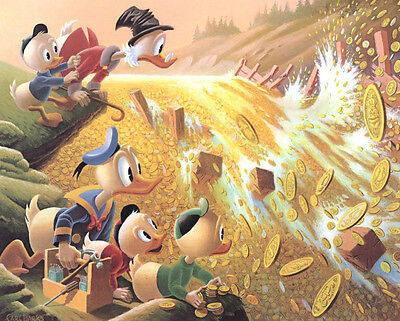 CARL BARKS oilpainting print, DAM DISASTER AT MONEY LAKE ,  limited, very rare !
