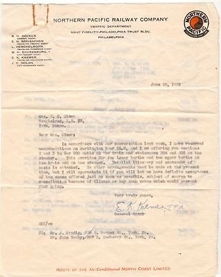 1929 Letterhead Letter Northern Pacific Railway Company Traffic Dept PA