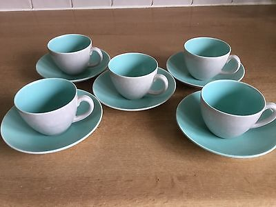 Poole Twintone Ice Green & Seagull C57 - 5 X Espresso Cups and Saucers