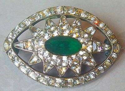 Antique Georgian Solid Silver Clear & Emerald Paste Brooch Pin