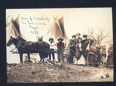 Real Photo Tepee Of White Wolf Indian Baseball Player Dedrick Postcard Copy