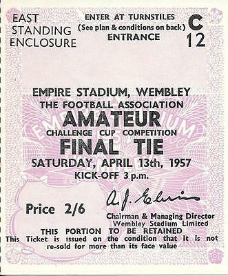 Ticket Amateur Cup Final 1957 Wycombe Wanderers v Bishop Auckland