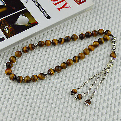 Natural Tiger Eye's Stone 33 Prayer beads Islamic Muslim Tasbih Rosary Misbaha