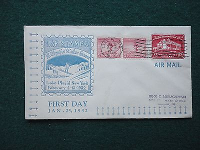 USA First Day Cover Olympics 1932 Air Mail Lake Placid NY to Chicago