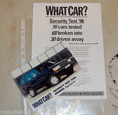 RARE Range Rover P38 What Car Magazine Security Test Press Release & Photo 1996